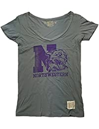 Max-MPH Northwestern Wildcats Retro Brand Women's Gray Distressed Vintage Shirt (Medium)