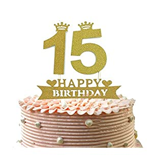 Alemon 15th Cake Topper and Happy Birthday Party Supplies Decoration, Gold,4.8