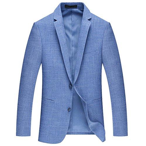 Xsiapas Herren Mode Slim Fit Zwei Knöpfe Lässig Blazer Anzug Sport Mantel (Blaue Mantel Sport Blazer)