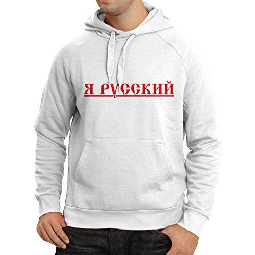 lepni.me Kapuzenpullover Я Русский - Ich Bin Russisch, Россия, Vladimir Putin (X-Large Weiß Mehrfarben)
