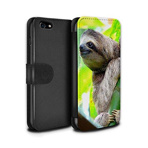 STUFF4 PU-Leder Hülle/Case/Tasche/Cover für Apple iPhone 5/5S / Wolf Muster / Wilde Tiere Kollektion Faultier