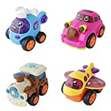 #3: Toy Train Plane Car & Helicopter - Set of 4 (1c586) - Toddler Toys With Push Mechanism