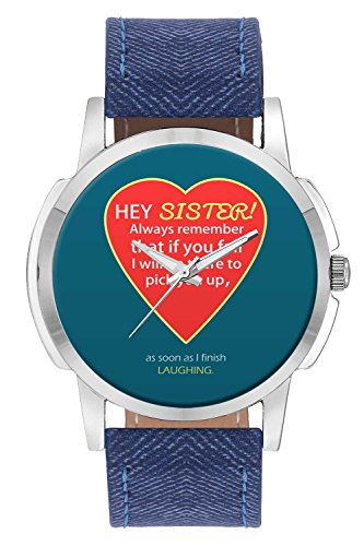 Wrist Watch For Men - Hey Sister | I will always be There For You Quote - Analog Men's And Boy's unique quartz leather band round designer dial watch