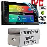 Smart ForTwo 451 2007-2010 - JVC KW-V320BTE - CD DVD Bluetooth MP3 USB 6,8-Zoll Display Autoradio - Einbauset