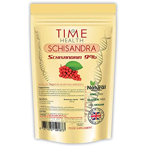 Schisandra chinensis - 9% Schisandrin - 100% Vegan - Zero Additives (60 Kapseln pro Beutel) -