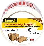Ruban adhésif d'emballage marquage Fragile Scotch - Longueur 66 m - Largeur 48 mm