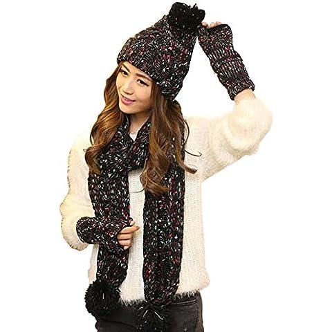 Kissing U Inverno calda lana guanti sciarpa cappello set lavorato a maglia il cappello del pattino sciarpa Guanti Set