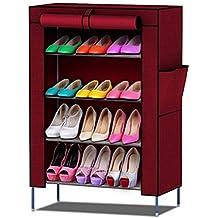 Ducomi® Organizador de Tela de Zapatos (S - 4 Pisos, Rojo)