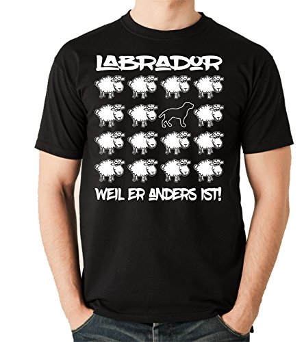Siviwonder Unisex T-Shirt BLACK SHEEP - LABRADOR - Hunde Fun Schaf Schwarz