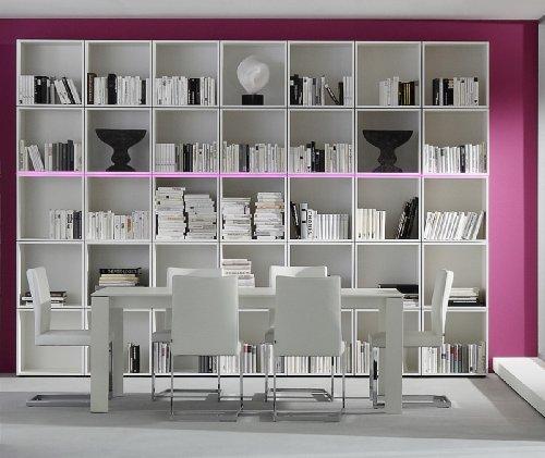 Dreams4Home Regal XXL Square Raumteiler Regalsystem Bücherregal weiß o schwarz LED-RGB-Beleuchtung, Beleuchtung:mit Beleuchtung;Farbe:Weiß