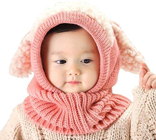 Inverno bambino cappelli, Cappello caldo per bambini-Maglia Cappuccio Sciarpa Earflap sciarpe Teschio Caps-Set di vestitini Pink L