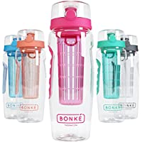 Bonke–Bottiglia di acqua con infusore per frutta, ca. 1 L, plastica senza BPA e impugnatura in gomma ecologica con sistema di bloccaggio super sicuro che evita fuoriuscite e perdite, ideale per corsa, ciclismo, sport o viaggio, con eBook e spazzola di pulizia, Rosa