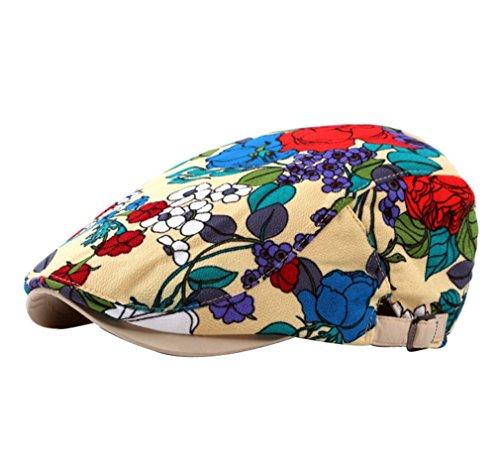 ACVIP Adulte Accessoire Chapeau Motif Fleur Casquette Plate Imprimé Bonnet Cap Hat Mode pour Femme,3 Couleurs Jaune Foncé
