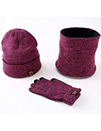 CHIRORO Unisex Inverno Cappello Loop Sciarpa Touch Touch Touch Guanti Set  Caldo Elastico Beanie cap Elastico Morbido Lavorato a Maglia… fdcc3f05a355