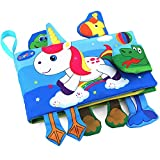 #4: TEYTOY Animal Soft Activity Baby Book Early Education Toys Activity Crinkle Cloth Book for Toddler, Infants and Kids Perfect for Baby Shower