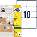 Avery Quick DRY J8173-25 - 250 Etichette per l'indirizzo adesive, 10 per foglio, 99,1 x 57 mm, colore: Bianco