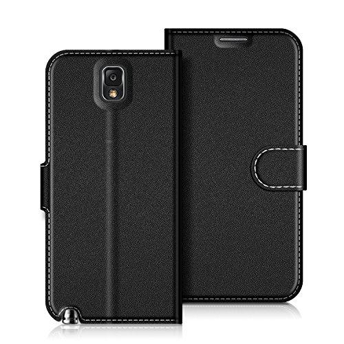 COODIO Handyhülle für Samsung Galaxy Note 3 Handy Hülle, Samsung Galaxy Note 3 Hülle Leder Handytasche für Samsung Galaxy Note 3 Klapphülle Tasche, Schwarz