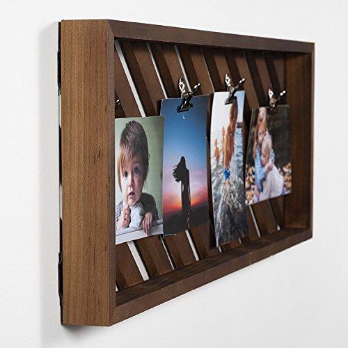 Brightmaison rustikalem Dekor Foto Display Clip Board Holz 58,4cm Set von 3 18x6x3 Walnuss - Zwischenablage 3x5