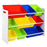 SONGMICS Toy Storage Unit 3-Tier Toy Shelf with 9 Plastic Boxes GKR02W
