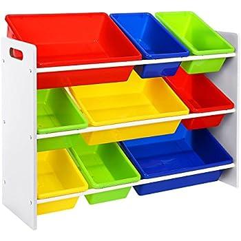 68x65x31cm Relaxdays /Étag/ère pour Enfants MDF+Plastique Organisation 9 Bo/îtes de Rangement pour Jouets Color/ées