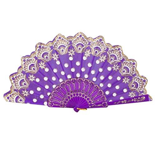 ächer Falten Fans Klassisch Blumenmuster Faltfächer Klappfächer Taschenfächer Chinesisch/Spanisch Stil Lace Silk Folding Hand Blumen Fan für Tanzen Hochzeit Party (Lila) ()