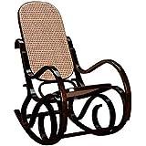 Rocking chair teinté noyer,Assise et dossier canné, Dim L.535 x P.920 x Ht.940 x Ht. Ass. 350 mm -PEGANE-