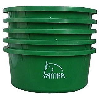 Amesbichler AMKA Futterschale Müslischale Leckschüssel 5er Set 2 Liter ohne Deckel für Futterschüssel Wasserschüssel für Pferde, Hunde Tiere, Farbe: grün