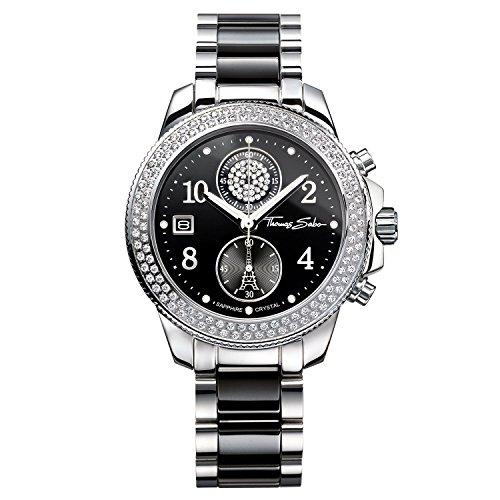 Thomas Sabo Damen-Armbanduhr Glam Chrono silber schwarz Analog Quarz