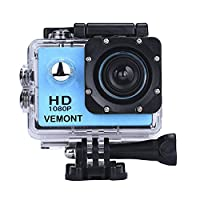 Vemont Full HD 2.0 Inch Action Camera 1080P 12MP Sports Camera Action Cam Underwater 30m/98ft Waterproof Camera and Mounting Accessories Kit for Diving/Bicycle/Climbing/Swimming etc (Blue)