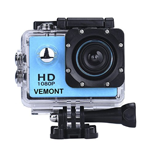 Vemont Full HD 2.0 Inch Action Camera 1080P 12MP Sports Camera Action Cam Underwater 30m/98ft Waterproof Camera and Mounting Accessories Kit for Diving/Bicycle/Climbing/Swimming etc (Blue) Test