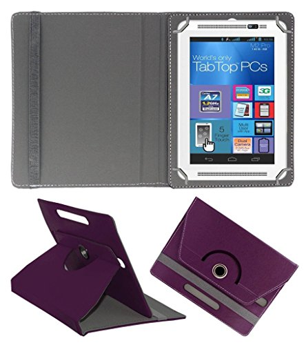 ECellStreet ROTATING 360° PU LEATHER FLIP CASE COVER FOR Micromax Canvas Tab P480 7 INCH TABLET STAND COVER HOLDER - Purple  available at amazon for Rs.222