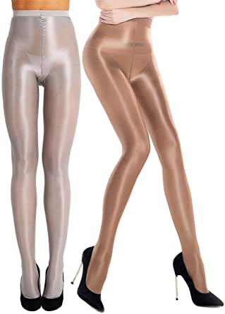 RICHTOER 2 paia di calzini modellanti olio calze calze calze lucide di seta collant danza
