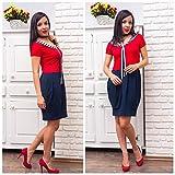 Damen Marine-Kleid, Modisches Freizeitkleid Midi Kleid Handgemachtes Kurzarm Sommerkleid Kontinuiöse Kleidung Baumwolle Größe M-XL in rot und dunkelblau