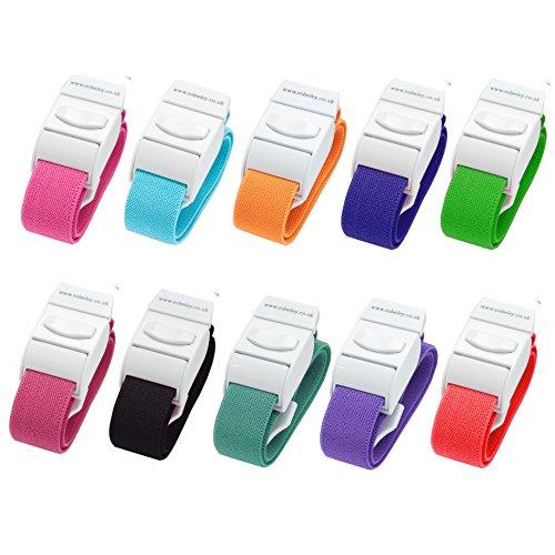 Packung mit 10 Venenstauer Stauschlauch Stauband von Rolseley (10 verschiedene Farbsatz) Test