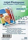 EtikettenPlus Ltd Fotopapier, 500 Blatt, EF10180500, 10x15 cm 180g/qm glänzend (glossy), wasserfest, sofort wischfest für alle Tinten- und Fotodrucker