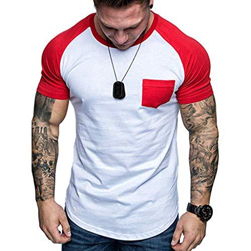 Rosennie Herren Kurzarm T-Shirt Männer T-Shirt Sommer Slim Fit Patchwork T-Shirt Top Bluse mit Tasche Mode Rundhalsausschnitt Hemd Fitness Casual Lose Oversize Sweatshirts - Herren Punkt-kragen-hemd