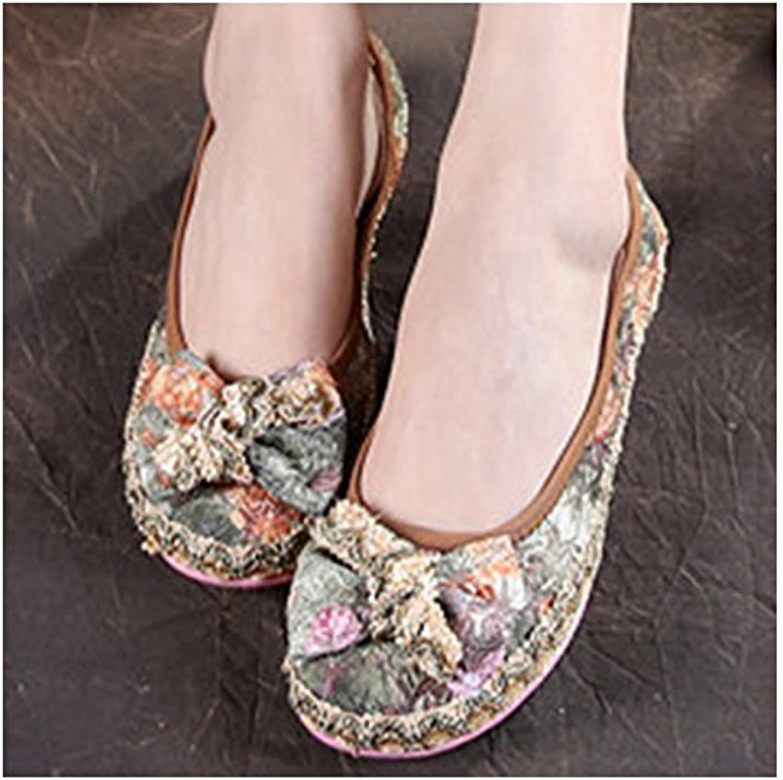 Bonitos y Elegantes Zapatos Bordados de Lazo y Encaje Verde
