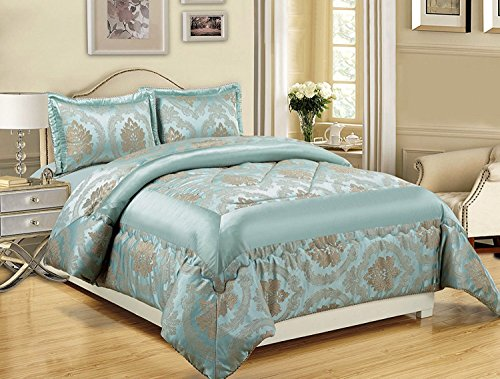 LUXURY 3PCS (Stück) Jacquard SUPER KING (270 x 260 CM) + 2 KISSEN SHAMS Gestepptes Bett Verbreitung Bettdecke Decke Set (Super King (270 x 260 cm), Betty Duck Egg Blue / Muskatnuss)