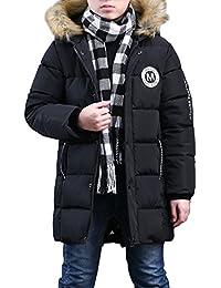 Phorecys Garçon Manteau d'hiver Rembourré avec Capuche Fourrure Enfant Parka Hiver Blouson Neige