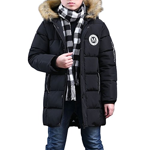 Phorecys - Abrigo de Invierno Acolchado con Capucha para niño Negro 10-11 años