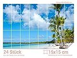 Graz Design 761005_15x15_60 Fliesenaufkleber Strand mit Palmen für Kacheln | Bad-Fliesen mit Folie überkleben (Fliesenmaß: 15x15cm (BxH)//Bild: 90x60cm (BxH))