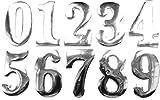 PRESKIN 3D Zahlen Chrom Silber 0 bis 9, Hochglanz Aufkleber Selbstklebende Metall-Optik Sticker Decal für Auto, KFZ, Motorrad, Roller, Notebook, Haustür, Kühlschrank …