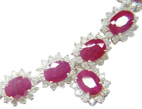 38.40ct &&Rubis-Diamant-Boucles d'oreilles en or blanc 14 carats