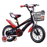 CÄKO Mini Bici Kids Bike Una varietà di Caratteristiche di Moda Regali per Ragazzi E Ragazze di Moda in Molte Dimensioni Opzionale Rosso-Nero (14 Pollici)