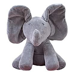 Aaa226 Baby Lovely Peek-a-boo Pal Animated Moving Ears Elephant Plush Toy With Music (Grey)