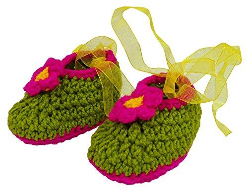 Love Crochet Art Bébé vert nourrisson main bottillons nouveau-nés Chaussettes Chaussures Prewalker Vert et rose