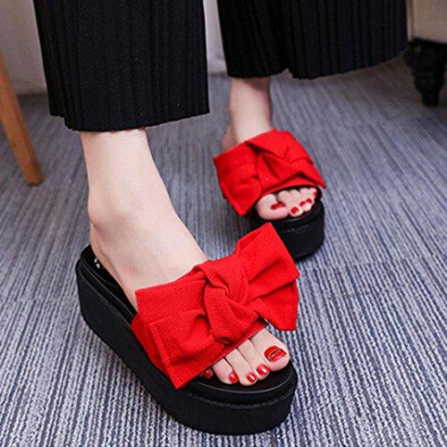 Hunpta Frauen Comfy Plain Gummi Pantoffeln Flip Flop Bogen Sliders High Heel Sandalen Rot