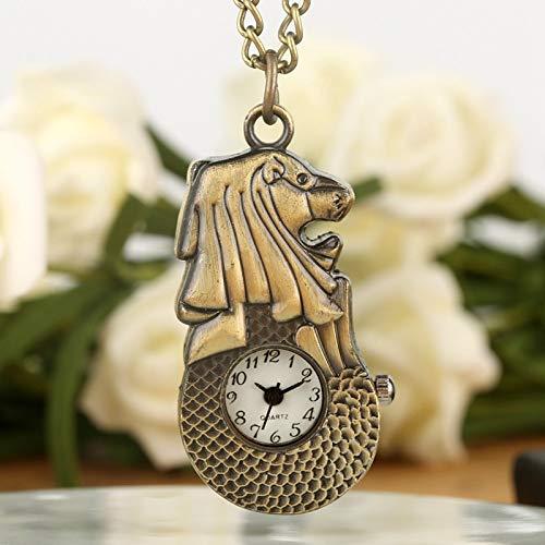 HANXIAO Taschenuhren Retro Bronze Mini Merlion Quarz Taschenuhr Pullover Kette Schlank Anhänger Halskette Uhr Souvenir für Männer Frauen-Blau -