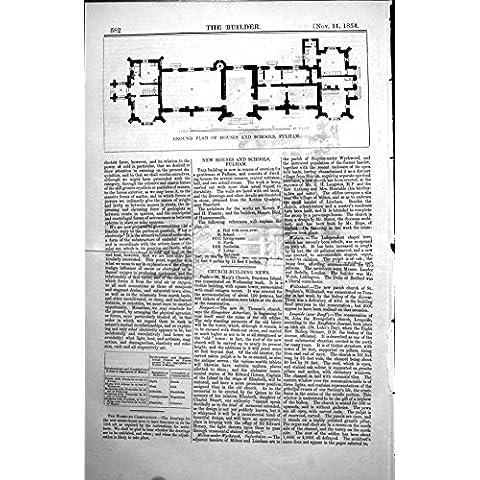 Imprima a Sr. Bird 1854 582L112 del Arco de Fulham F H Francisco de las Escuelas de las Casas del Plan De Tierra