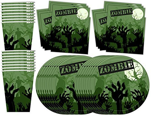 (Zombie Birthday Party Supplies Set Plates Napkins Cups Tableware Kit for 16)